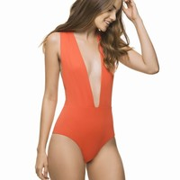 Estivo Orange Deep Plunge One Piece Swimsuit
