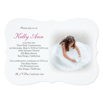 Elegant First Holy Communion Invitation for Girl