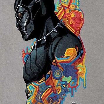 Marvel Black Panther Colorful Geo Pattern Profile - Art Print