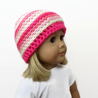 Pink Doll Hat, 18 Inch Doll Beanie, Doll Clothes, Accessories