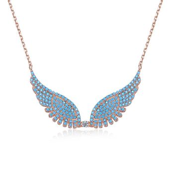 Womens .925 Silver Necklace Butterfly Angel Wings CZ Fashion Trend Necklace