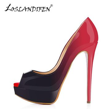 LOSLANDIFEN Women Pumps Platform Peep Toe Sexy Extremely High Heels Shoes Woman Red Wedding Shoes Gradient Stiletto Pumps 14cm