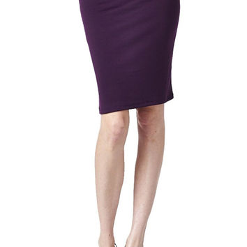 82 Days Women'S Ponte Roma Office Wear to Casual Above Knee Pencil Skirt - Solid