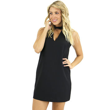 Chocker Shift Black Dress