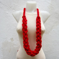 Necklace Crochet  -Finger Knitting Necklace-Red-  Necklace Long Winter Accessories-chain loop scarf