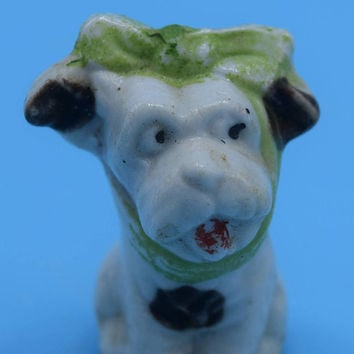Miniature Japan Toothache Dog Vintage Spotted Dog with Green Bow Black & White Dog Figurine Mid Century Ceramic Dog Lover Gift for Her
