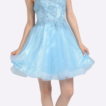 Blue Lace Applique Bodice Short Prom Dress Sleeveless Cut Out Back