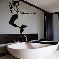 Mermaid Wall Decals Anchor Decal Vinyl Lotus Sticker Bathroom Nursery Bedroom Home Decor Dorm Interior Art Murals MN955