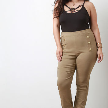 Button Accent High Waisted Pants