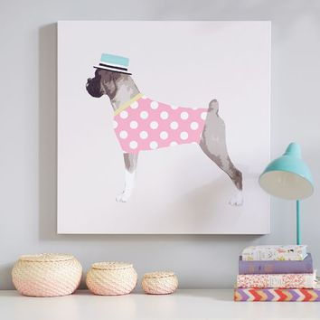 Boxer Wall Art, Pink Dottie
