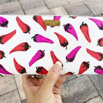 Kate Spade Liberty Street Hot Peppers Neda Zip Around Wallet