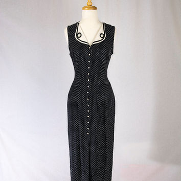 Vintage Pin-up Wiggle Dress Black and White Polka-dot Button Front Tie Back