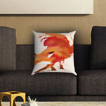 Fox Watercolor Painting Pillow Cover , Custom Zippered Pillow Case One Side Two SIde