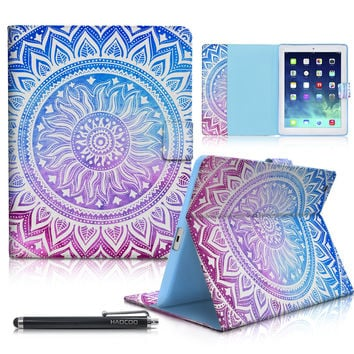 iPad Case iPad 2/3/4 Case HAOCOO Stylish Art Printed Flip PU Leather Stand Protective Case with Card Slots for Apple iPad 2/3/4 Generation (9.7 Inch) Medallion