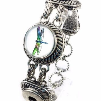 "Snap Charm Bracelet Standard Snaps 3/4"" Includes Dragonfly Snap Fits a Skinny Wrist"