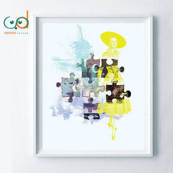 Abstract Puzzle Printable, Modern Wall Decor, Vintage Lady abstract, Creative Home Decor, Unique Poster Art, Creative Gift Idea, Beautiful