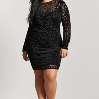 Plus Size Sheer Velvet Dress