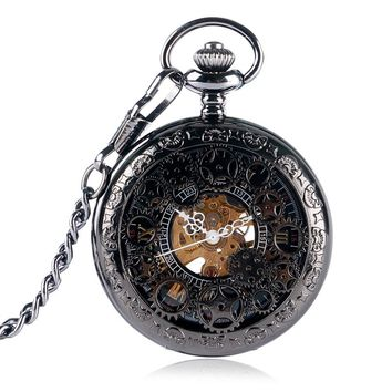 New Arrival Exquisite Gear Wheel Hollow Pocket Watch Mechanical Fob Watches Hand Wind Hot Sale Men Women Gift With Chain