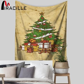 Miracille Christmas Tree Wall Hanging Tapestry Polyester Rectangle Yoga Mat Coverings Beach Towel For Party Holiday Decorative