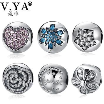 V.YA 100% 925 Sterling Silver Snowflake Clip Beads Fit Pandora Bracelets Necklace Pink Heart Clip Safety Stopper Charm Beads