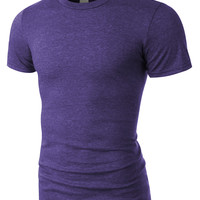 LE3NO PREMIUM Mens Lightweight Cotton Short Sleeve Tee