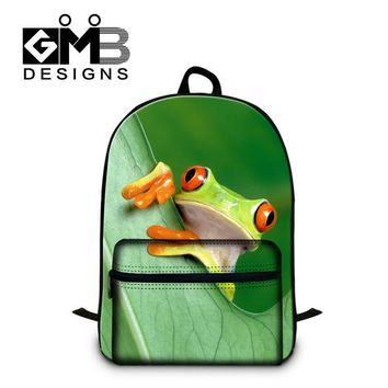 Cool Backpack school Lovely Polypedatid 3D Pattern School Backpacks for Children,College Cool book bags day pack,Fashion laptop backpacking for girls AT_52_3