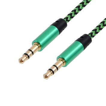 1m Nylon Aux Cable 3.5mm to 3.5 mm Male to Male Jack Auto Car Audio Cable Gold Plug Kabel line Cord For Iphone 7 Xiaomi speaker