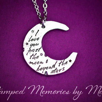 I Love You to the Moon and Back - Pewter Mommy Necklace - Hand Stamped Jewelry - Moon and Stars - Organic Moon Shape - Mother, Grandma