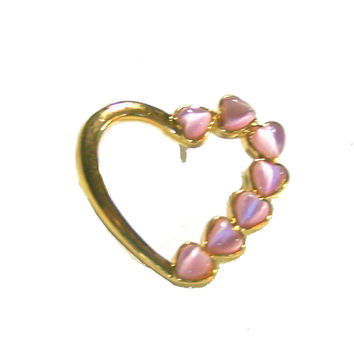 Cats Eye Brooch / Pin, Pink Cats Eye , Gold Open Heart Setting, Vintage New Old Stock