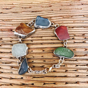 Julian's Sea Glass Bracelet/Tiffany stained glass style