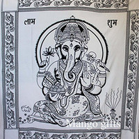 Mango Gifts Indian Goddess Ganesha Tapestry White Color Bedspread Size 82 X 90 Inches By Mango Gifts India