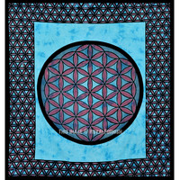 Large Turquoise Leaf Ball Medallion Wall Tapestry, Indian Tapestry Bedding on RoyalFurnish.com