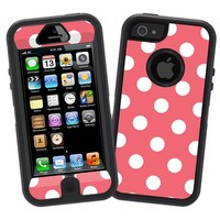 "White Polka Dot on Coral ""Protective Decal Skin"" for Otterbox Defender iPhone 5 Case"