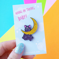Luna Sailor Moon - Hang In There Baby, Cry Baby Soft Enamel Glitter Pin