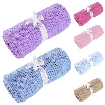 Baby Blanket Newborn Super Soft Cotton Baby Bedding Swaddle Sleeping Bed Linens Hole Wrap Baby Blanket Towels