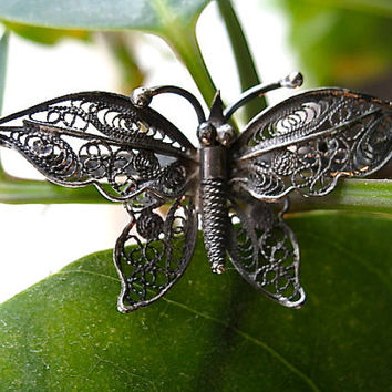 Vintage .800 Silver Butterfly Pin / 800 Silver Antique Brooch