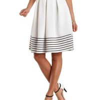 Ivory Combo Striped & Pleated Full Midi Skirt by Charlotte Russe
