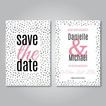 Save the date, Printable, Wedding invitation, Digital download, Printable, Polka dot invites, Polka dot save the date, Modern invitations