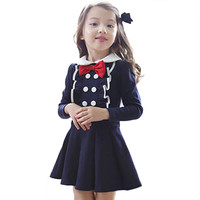 Kids Toddlers Girls Bowknot Dress Butterfly Lace long-sleeved Princess Dress 2-7Y Clothes