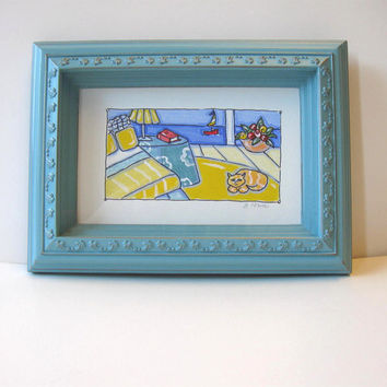 Framed Acrylic and Ink Painting Beach Animal Still life