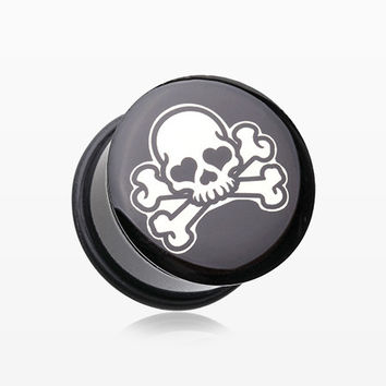 A Pair of Pirate Emo Skull Single Flared Ear Gauge Plug