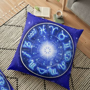 'Zodiac Signs Blue Galaxy Circle ' Floor Pillow by BluedarkArt
