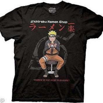 NARUTO I Love Ramen Adult Men T-Shirt S-2XL Black ICHIRAKU RAMEN SHOP