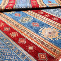 Ethnic Tribal Style Chenille Upholstery Fabric, Velvet Fabric, Aztec Navajo Geometric Design Kilim Fabric, Blue Red, Fat Quarter