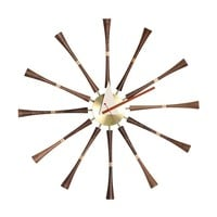 Modern Walnut & Aluminum Reproduction of George Nelson Spindle Wall Clock