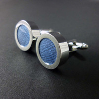 Sea blue silk mens cuff links - 12th or 4th anniversary cufflink present – silk anniversary gift – blue wedding cufflinks