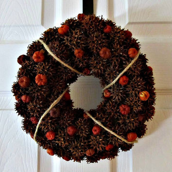 Sweet Gum Ball and Pumpkin Pod Wreath / Candle Ring - Fall, Autumn Decor - Natural, Eco Friendly Home Decor