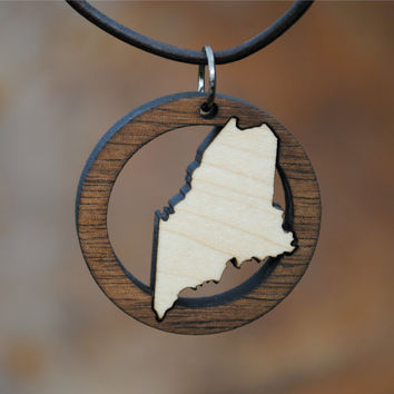 State of Maine Laser Cut Wooden Necklace Jewelry The Pine Tree State Wood Inlay