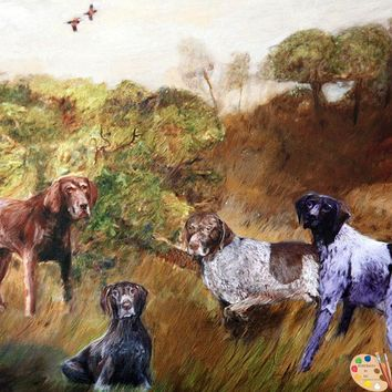 Group Dog Portrait Hunting Dogs 355