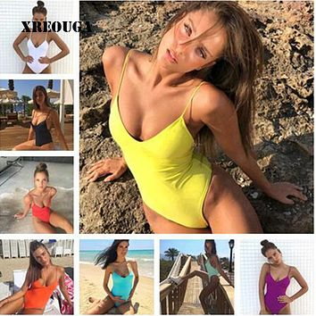 2018 New Women One Piece Swimsuit Sexy Bandage Padded Bathing Suit Push Up Solid High Cut Hot Thong Swimwear Monokini BKLG07